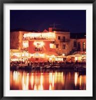 Framed Harborside Restaurants at Night, Old Town, Rethymnon, Western Crete, Greece