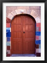 Framed Old Brown Wooden Door, Rhodes, Dodecanese Islands, Greece