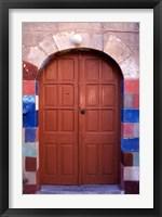 Framed Old Brown Wooden Door, Rhodes, Dodecanese Islands, Greece