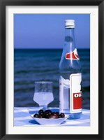 Framed Ouzo and Plate of Black Olives, Greece