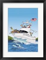 Framed Boat Dolphins US Flag