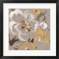 Framed Brushed Petals II Gold