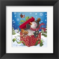 Framed Penguin Holiday Surprise Gift