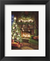 Framed Christmas By The Fireplace