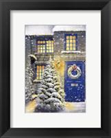 Framed Blue Door and White Christmas