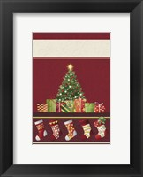 Framed Christmas Tree and Stockings In Red