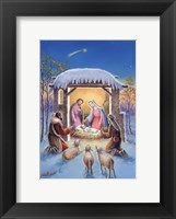 Framed Mary and Joseph With Visitors Bearing Gifts