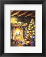 Framed Gift Bear and Christmas By The Fireplace