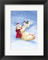 Framed Polar Bears In Christmas Snow