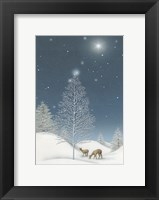 Framed Snowy Winter TreeWith Star and Deer