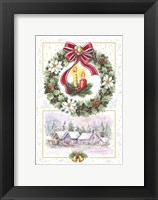 Framed Holiday Wreath and Village With Candles