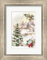 Framed Christmas Tree and Snow Village