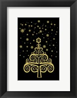 Black and Gold Holiday Tree Framed Print