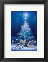 Framed Blue and White Winter Tree and Deer