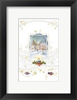 Framed Holiday Candles and Gifts Around Snow Village