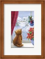 Framed Kitten Christmas With Pointsettia