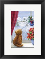 Framed Kitten Christmas With Pointsettia