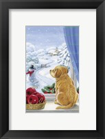 Puppy With Snowman and Mistletoe Framed Print