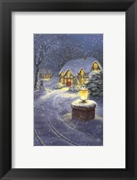 Framed Snowy Winter Christmas Road Home