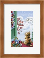 Framed Christmas Kitten Watching Bird and Berries