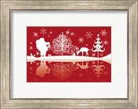 Framed Red and White Santa and Deer Silhouette