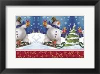 Framed Snowman and Sleigh