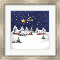 Framed Holiday Star and Snow Village
