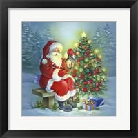 Framed Santa's Christmas Tree and Bench