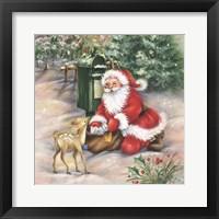Framed Santa's Meeting At the Mailbox