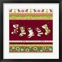 Framed Christmas Eve Stocking Holiday Knit