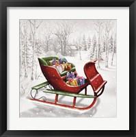Framed Christmas Sleigh In The Wood