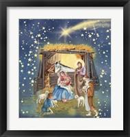 Framed Christmas Manger and Shooting Stars