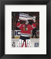 Framed Corey Crawford with the Stanley Cup Game 6 of the 2015 Stanley Cup Finals