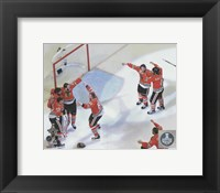 Framed Chicago Blackhawks celebrate winning Game 6 of the 2015 Stanley Cup Finals