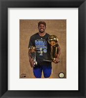 Framed Andre Iguodala with the MVP & NBA Championship Trophies Game 6 of the 2015 NBA Finals