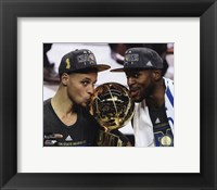 Framed Stephen Curry & Andre Iguodala with the NBA Championship Trophy Game 6 of the 2015 NBA Finals