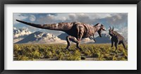T- Rex and Triceratops meet for a Battle 3 Framed Print