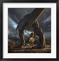 Framed Tyrannosaurus Rex and Triceratops in a Face Off