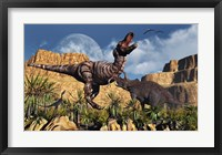 Confrontation between Tyrannosaurus Rex and Triceratops Framed Print