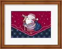 Framed Santa And Rudolph's Blue Polkadot Hug