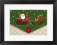 Santa's Flying Button Ride Framed Print