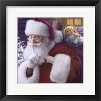 Framed Shhh Santa's Doll And Bear