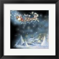 Framed Santa's Starry Snowflake Ride