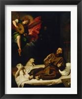 Framed Saint Francis Vision of a Musical Angel