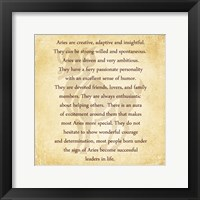 Aries Character Traits Framed Print