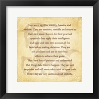 Capricorn Character Traits Framed Print