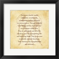 Gemini Character Traits Framed Print