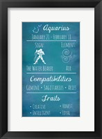 Framed Aquarius Zodiac Sign
