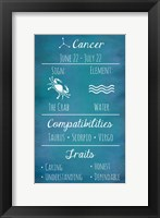 Framed Cancer Zodiac Sign
