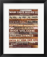 Man Cave Rules Framed Print